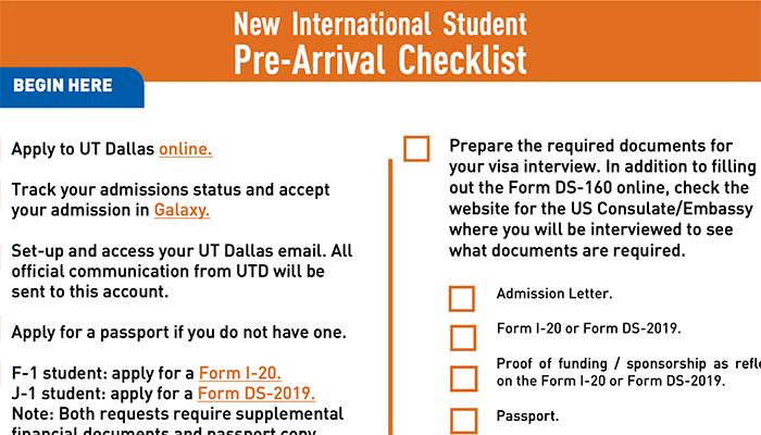 Pre Arrival Checklist