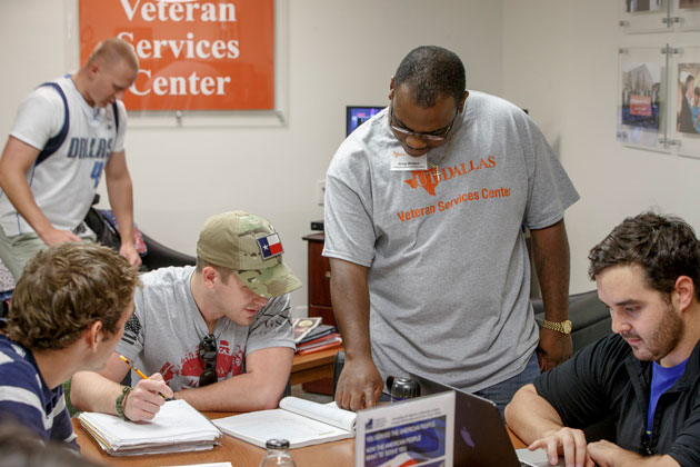 student veterans working on a project