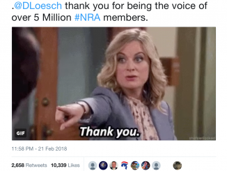 """Screen Shot of NRA Twitter Post using Parks and Rec GIF of Leslie Knope saying """"Thank you"""""""