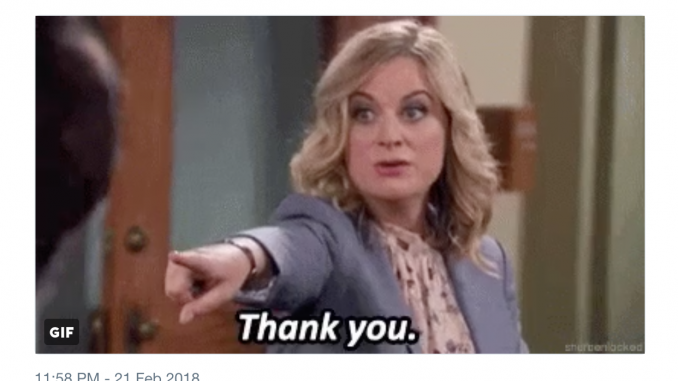 "Screen Shot of NRA Twitter Post using Parks and Rec GIF of Leslie Knope saying ""Thank you"""